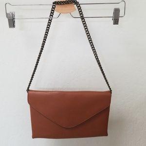J Crew envelope clutch in a beautiful deep tan